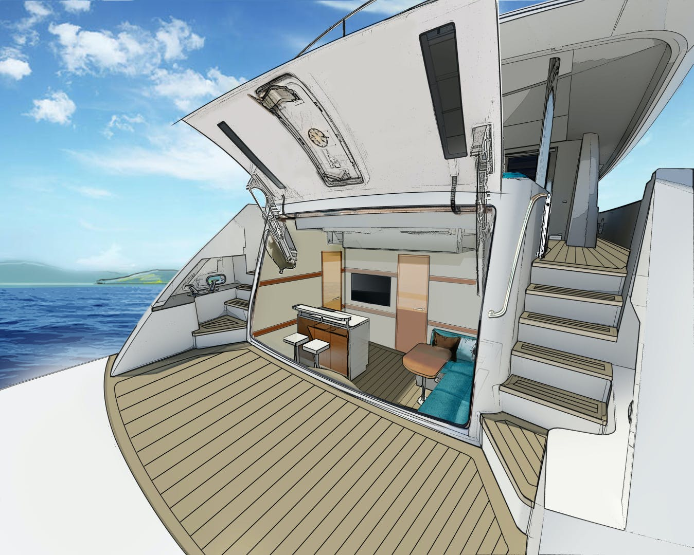 2021 Hatteras 98'  2021 NEW BUILD M98 | Picture 2 of 4